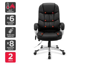 2 Pack Ergolux Haymana 8 Point Heated Vibrating Massage Office Chair