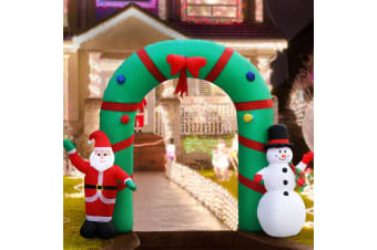 Jingle Jollys Inflatable Christmas 2.8M Giant Arch Way Santa Snowman Light Decor