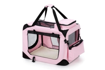 Pet Dog Cat Soft Crate Folding Puppy Travel Cage Medium Size   Pink