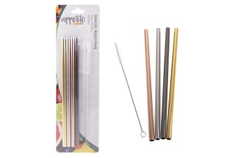 Appetito Set 4 Straight Metallic Stainless Steel Straws + Cleaning Brush