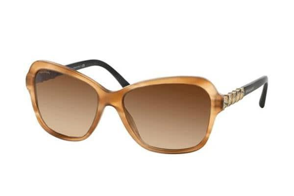 Bvlgari BV8142B - Striped Light Brown (Brown Shaded Polarised lens) Womens Sunglasses