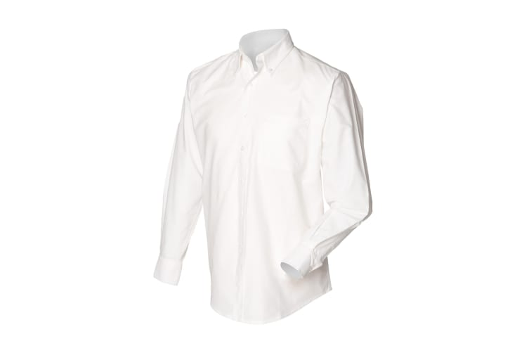 Henbury Mens Long Sleeve Classic Oxford Work Shirt (White) (4XL)
