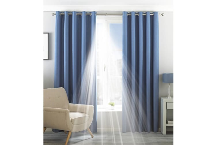 Riva Home Eclipse Blackout Eyelet Curtains (Denim) (90 x 54in (229 x 137cm))