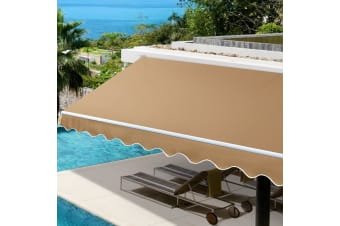 3M x 2.5M Outdoor Folding Arm Awning Retractable Canopy Beige