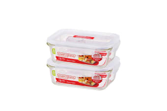 Lock & Lock Glass Rectangle Container Set/2 630ml