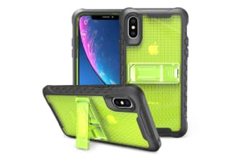 Yellow Honeycomb For iPhone XR Case Armour Phone Cover KickStand