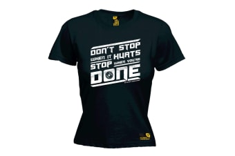 SWPS Gym Bodybuilding Tee - Dont Stop When It Hurts - Black Womens T Shirt