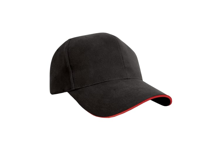 Result Pro-Style Heavy Brushed Cotton Baseball Cap With Sandwich Peak (Pack of 2) (Black/Red) (One Size)