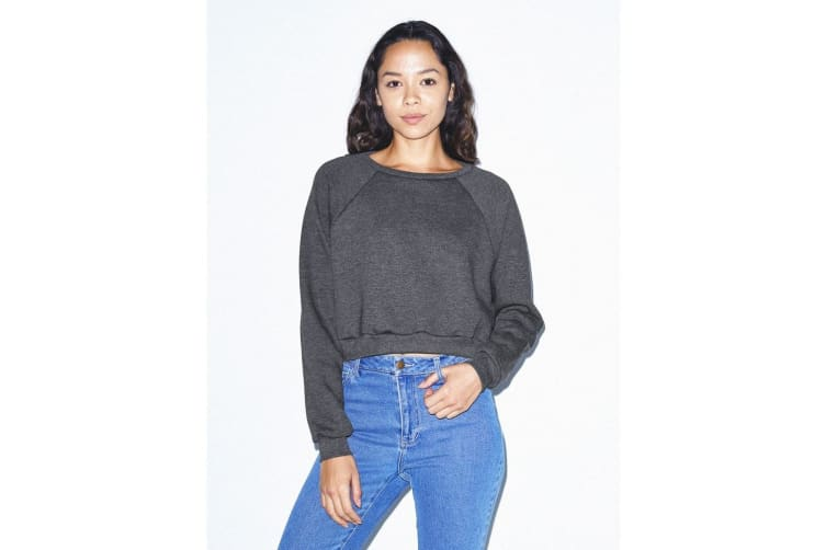 American Apparel Womens/Ladies Flex Fleece Cropped Pullover Sweatshirt (Dark Heather Grey) (M)