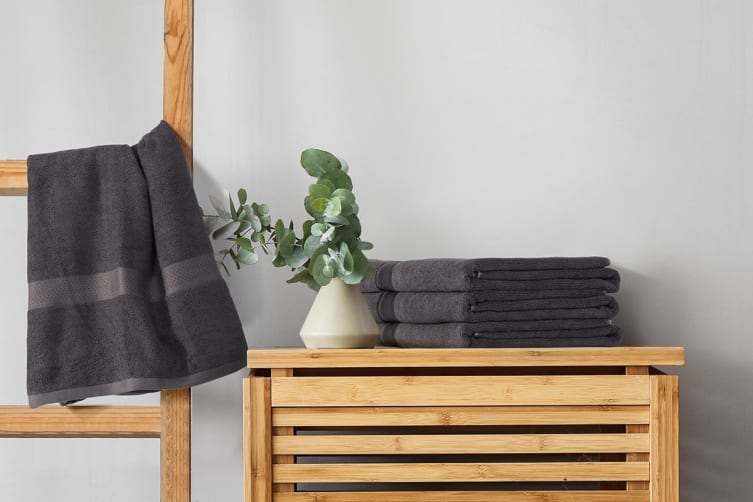 Ovela Set of 4 Bamboo Cotton Luxury Bath Sheets (Charcoal)