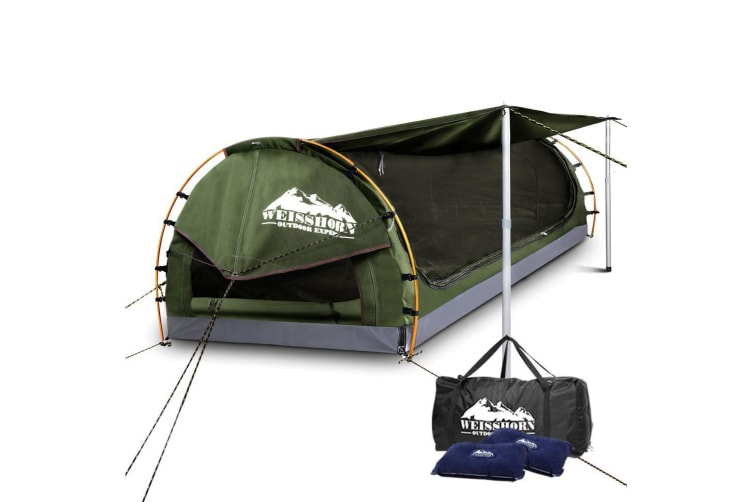 Double Swag Camping Swags Canvas Free Standing Dome Tent Bag Celado