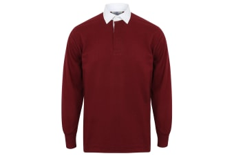 Front Row Long Sleeve Classic Rugby Polo Shirt (Deep Burgundy/White)