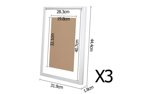 3 Piece Photo Frames Set Wall (White)