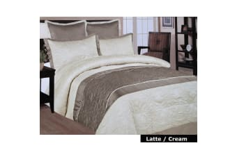5 Pce Faux Silk Comforter Queen LATTE
