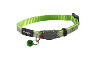 Rogz Reflectocat Safeloc Collar Lime Fish - S