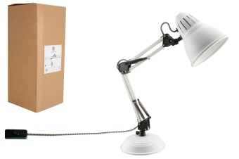 Luminite White Metal Swivel Arm Table Lamp