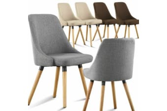 2x Cafe Fabric Upholstered Dining Chairs Padded Seat Kitchen Wooden Modern Retro