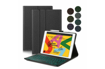 """AU For iPad 7th Gen 10.2"""" 2019 Backlit Bluetooth Keyboard Stand Cover Smart Case-Black"""