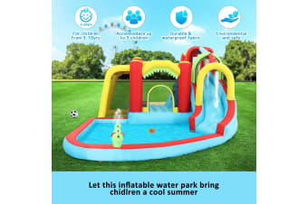 8 In 1 Inflatable Water Park Slide Jumping Castle Soccer Goal with Cannon