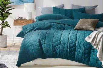 Gioia Casa Quilted Jersey Quilt Cover (King/Soft Teal)