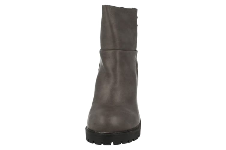 Spot On Womens/Ladies Heeled Panelled Ankle Boots (Grey) (6 UK)