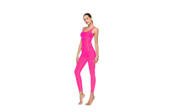 Women'S Tight-Fitting Nine-Sleeve Sports And Leisure Yoga Set Rose Red L
