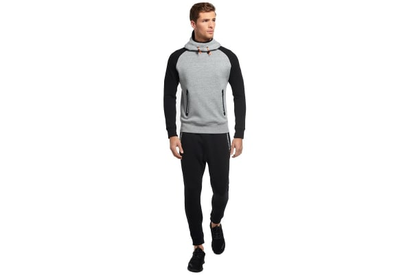 Superdry Men's Gym Tech Raglan Hoodie (Grey Grit, X-Large)