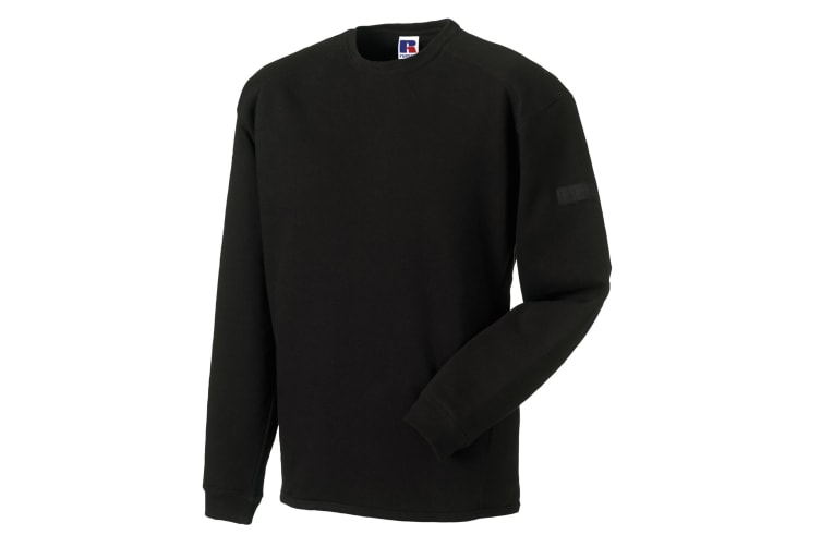 Russell Workwear Mens Crew Neck Set In Sweatshirt Top (Black) (XS)