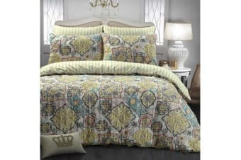 Park Avenue Microfiber Pinsonic Quilted Quilt cover set Super King Pattern Mix - Reversible