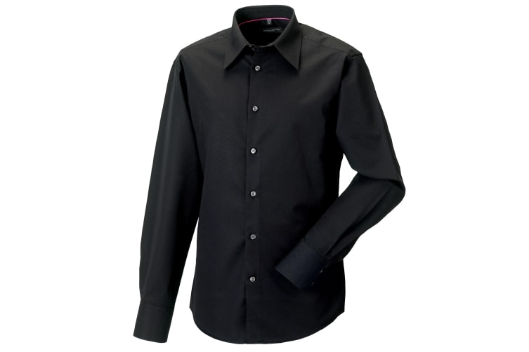 Russell Collection Mens Long Sleeve Tencel® Easy Care Fitted Shirt (Black) (L)