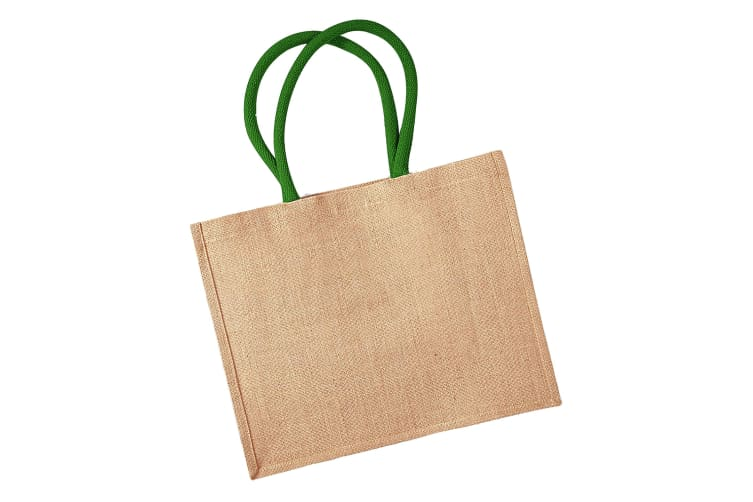 Westford Mill Classic Jute Shopper Bag (21 Litres) (Natural/Forest Green) (One Size)