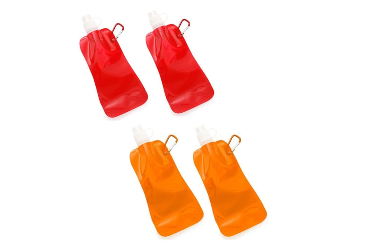 4x Doozie 450ml Collapsible Camping Water Drink Bottle Gym Sports Red Orange