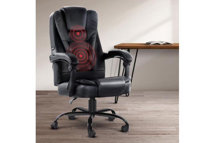Massage Office Chair Gaming PU Leather Recliner Computer Chairs Black