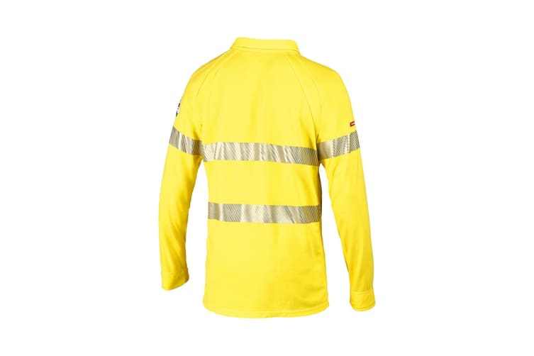 Hard Yakka Women's Bulwark iQ Flame Resistant Hi-Vis Taped Long Sleeve Polo (Yellow, Size 5XL)