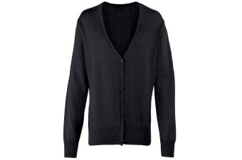 Premier Womens/Ladies Button Through Long Sleeve V-neck Knitted Cardigan (Black) (16)
