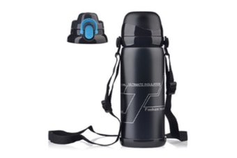 Sports Travel Water Bottle With Shoulder Strap, Bpa Free Stainless Steel Leak Proof Vacuum Black