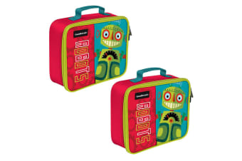 2PK Crocodile Creek Robot Lunchbox/Carry Lunch Bag/Storage f/ Kids/Child Red/GRN