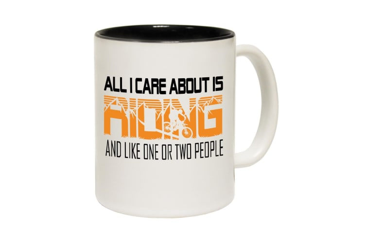 123T Funny Mugs - Allcareabout Riding - Black Coffee Cup