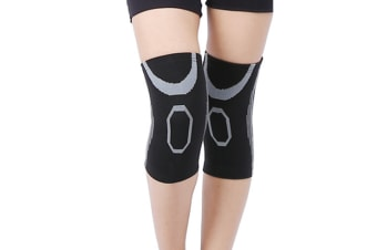 A Pair Athletic And Fashionable Knee Brace Support Compression Sleeves Grey