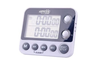 Appetito 100 Hours Dual Electronic Digital Kitchen Timer Magnetic Self Standing