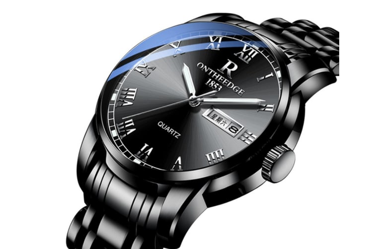 Select Mall Fashion Steel Shell Steel Strip Steel Round Quartz Watch Waterproof Watch for Men and Women Available-3