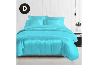 Double Size Silky Feel Quilt Cover Set-Aquamarine