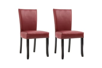 vidaXL Dining Chairs 2 pcs Wine Red Faux Leather