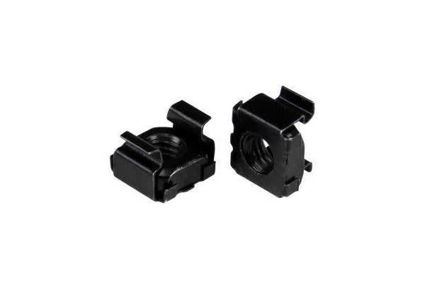 STARTECH M6 Cage Nuts - 100 Pack - M6 Nuts - 100 Pack Black - M6 Mounting Cage Nuts for Server Rack & Cabinet