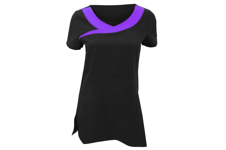Premier Womens/Ladies Ivy Beauty And Spa Tunic (Contrast Neckline) (Pack of 2) (Black / Purple) (14)