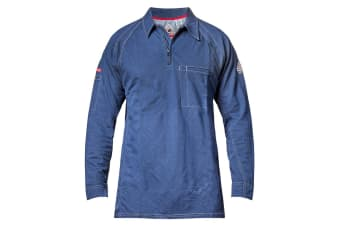 954979b6eb4c Hard Yakka Men s Bulwark iQ Flame Resistant Long Sleeve Polo - Dark Blue