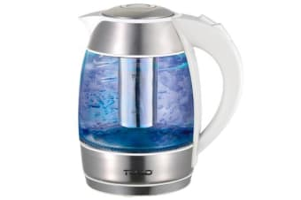 Todo 1.8L Glass Cordless Kettle 2200W Blue Led Light Kitchen Water Jug White 360