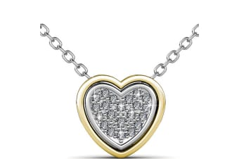 Heart Duo Pendant Necklace w/Swarovski Crystals-Dual Tone Gold/Clear