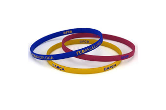 FC Barcelona Official Silicone Wristbands (Pack Of 3) (Multicoloured)