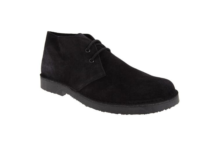 Roamers Mens Real Suede Round Toe Unlined Desert Boots (Black) (10 UK)